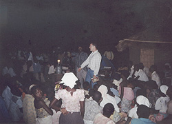 Paul speaking in Malawi with no electricity in the