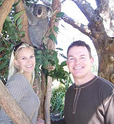 Paul & Karla with Australian koala bear at the Taronga Zoo in Sydney