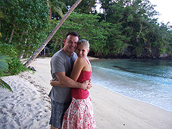 Paul & Karla on honeymoon at Qamea Resort, Fiji.