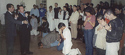 Youth crying out to God in Rio de Janiero, Brazil as Paul ministers