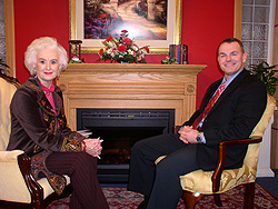 Paul on the TV set with host Frieda Crews.
