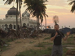 Paul at the tsunami epicenter in Banda Aceh, Indonesia where 200,000 people tragically died.