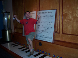 Paul getting happy on the large piano.