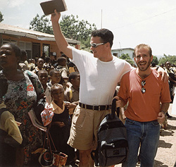 Paul & Chris Rolly in Montego Bay, Jamaica where they ministered to school children.