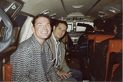 Paul and Pastor Carlos Sarmiento in a small plane in Peru heading to Chimbote
