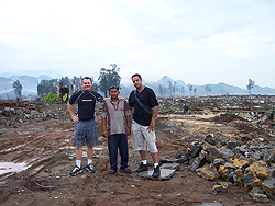 Paul & Isai at the tsunami epicenter in Banda Aceh, where they helped a young Muslim man rebuild his home.