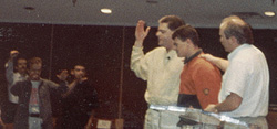 Pastor Roberts Liardon praying for Paul before sending him forth to Africa for a three month mission upon graduation from Spirit Life Bible College in 1994.