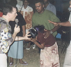 Paul prays for a young lady tormented by demon spirits in Guyana.